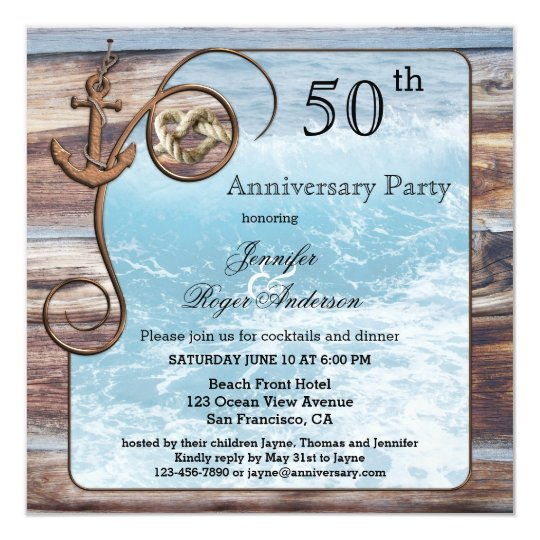 Rustic Nautical Anniversary Invitation