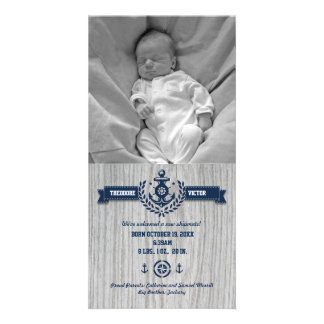 Rustic Nautical Baby Birth Card