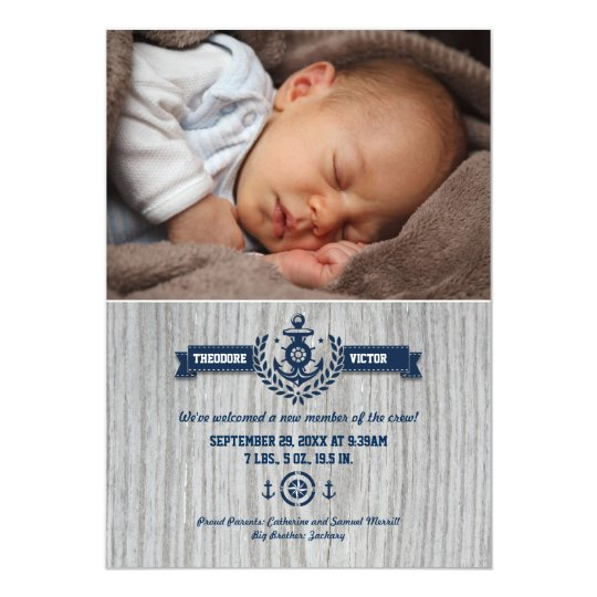 Rustic Nautical Baby Photo Birth Card