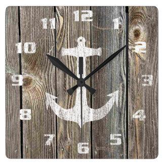 Rustic Nautical Design Anchor On Old Wood Wallclock
