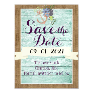 Rustic Nautical Save the Date Magnet with Burlap