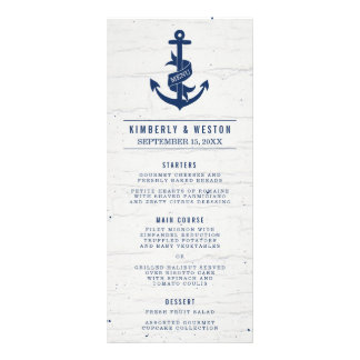 Rustic Nautical Wedding Menu / Navy