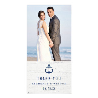 Rustic Nautical Wedding Thank You Card / Navy Customized Photo Card