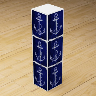 rustic Navy Blue anchor nautical wedding Wine Boxes