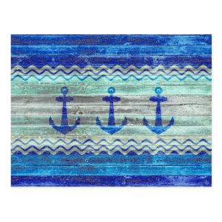 Rustic Navy Blue Anchors Postcard