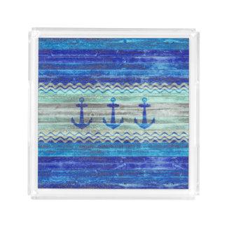 Rustic Navy Blue Coastal Anchors Acrylic Tray