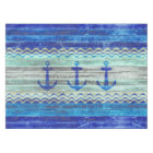 Rustic Navy Blue Coastal Decor Anchors Tablecloth