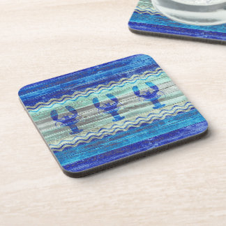 Rustic Navy Blue Coastal Decor Lobsters Coaster