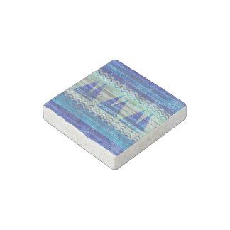 Rustic Navy Blue Coastal Decor Sailboats Stone Magnets