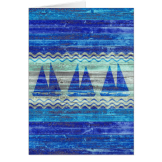 Rustic Navy Blue Coastal Sailboats Card