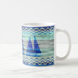 Rustic Navy Blue Coastal Sailboats Coffee Mug