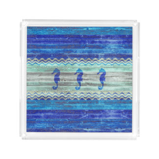 Rustic Navy Blue Coastal Seahorses Acrylic Tray