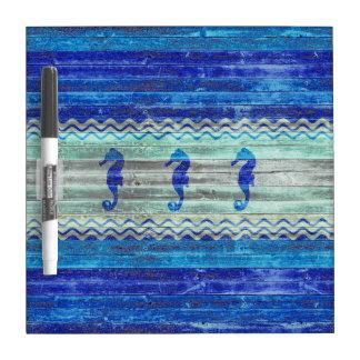 Rustic Navy Blue Coastal Seahorses Dry Erase Whiteboard
