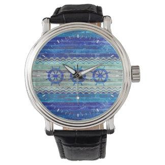 Rustic Navy Blue Coastal Ship Wheels Wrist Watch