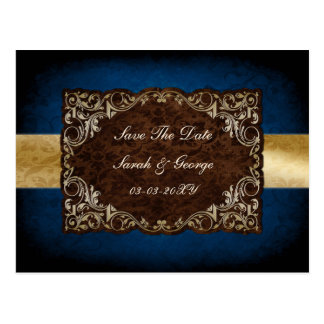 """rustic """"navy blue"""" regal save the date postcard"""