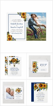 Rustic Navy Blue Sunflower Boho Collection