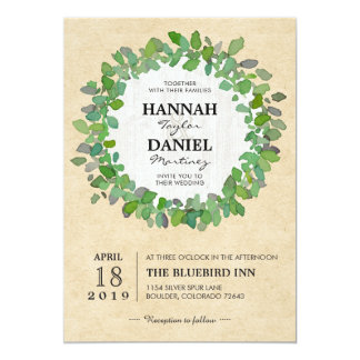 Rustic Neutral Wedding Wreath Invitation Card