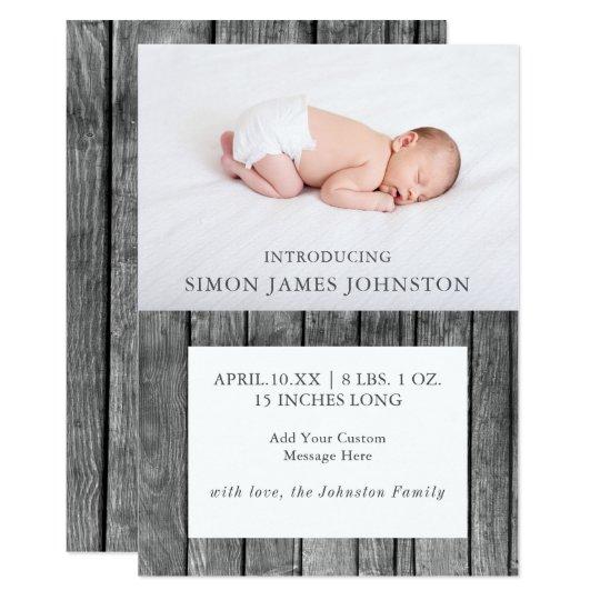 Rustic Newborn Birth Announcement. Card