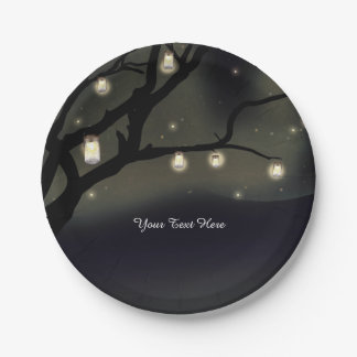 Rustic Night Tree & Mason Jar Lights Wedding 7 Inch Paper Plate