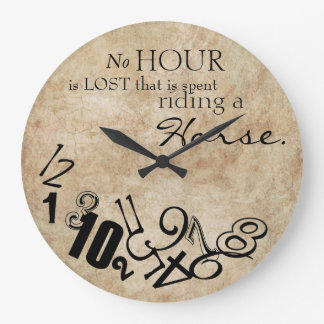 Rustic No Hour Is Lost Riding a Horse Wall Clocks