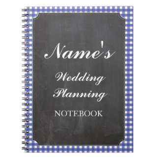 Rustic Notebook Wedding Planning Blue Chalk Notes