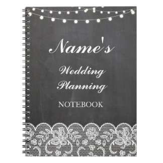 Rustic Notebook Wedding Planning chalk lace Notes