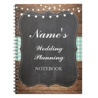Rustic Notebook Wedding Planning Mint Check Notes