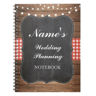 Rustic Notebook Wedding Planning Red Check Notes