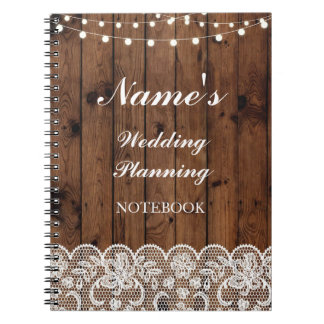 Rustic Notebook Wedding Planning wood lace Notes