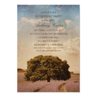 Rustic Oak Tree Lavender Flowers Retirement Party Card