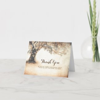 Rustic Oak Tree Wedding Thank You