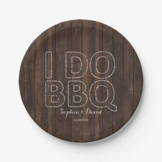 Rustic Old Barn String Lights I DO BBQ 7 Inch Paper Plate