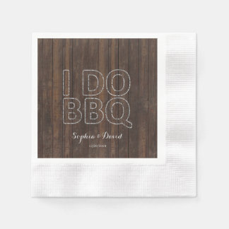 Rustic Old Barn String Lights I DO BBQ Paper Napkin
