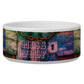 Rustic old door keyhole and chain dog bowl