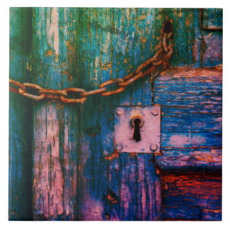 Rustic old door keyhole and chain tile