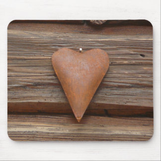 Rustic Old Heart on Log Cabin Wood Mouse Pad