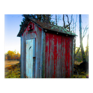 Rustic Old Junk Yard Outhouse Postcard