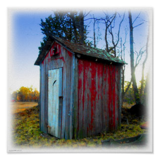 Rustic Old Junk Yard Outhouse Poster