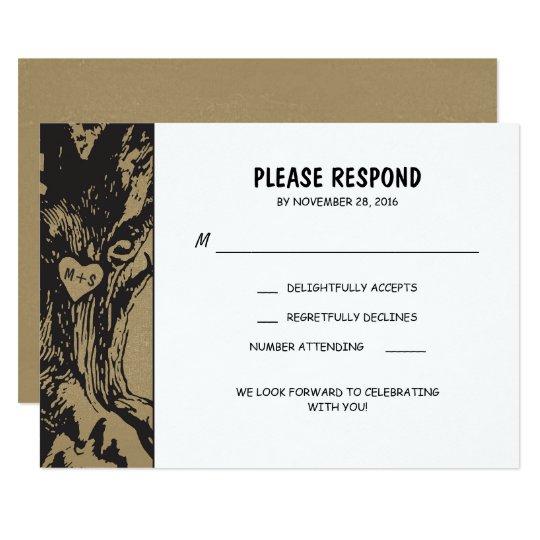 Rustic old oak tree wedding RSVP Card