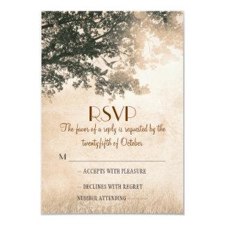Rustic old oak tree wedding RSVP cards Custom Invitation