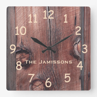 Rustic Old Red Barn Siding, Personalized Clock