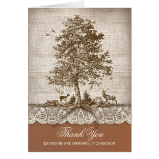 Rustic old tree burlap lace wedding thank you card