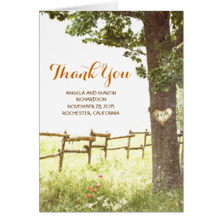 rustic old tree country wedding thank you cards