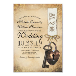 Rustic Old Vintage Goth Skeleton Key Wedding Card