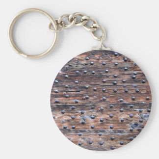 Rustic Old Weathered Wood with Nails Basic Round Button Keychain