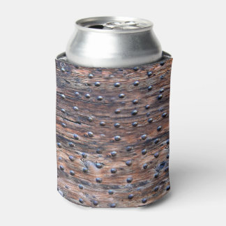 Rustic Old Weathered Wood with Nails Can Cooler
