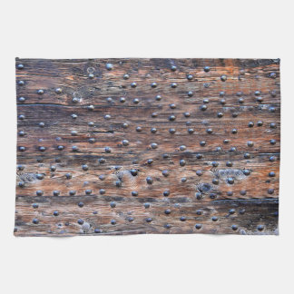 Rustic Old Weathered Wood with Nails Kitchen Towel