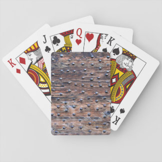 Rustic Old Weathered Wood with Nails Playing Cards