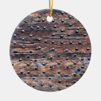 Rustic Old Weathered Wood with Nails Round Ceramic Ornament