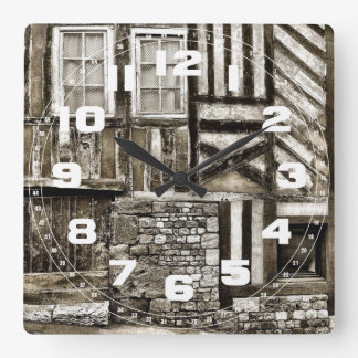 Rustic Old Wood and Stone Building Wall Clocks